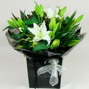 Oriental White Lilly Hand Tied
