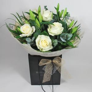 Luxury White Rose & Lilly Hand Tied