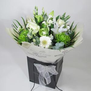 Luxury White & Green Hand Tied