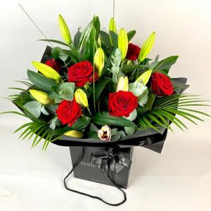 Luxury Red Rose & Lily Hand Tied