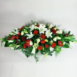 Red & White Coffin Spray