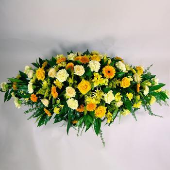 Cream Amp Yellow Coffin Spray Family Tributes Funerals